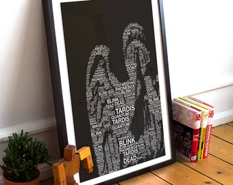 Doctor Who Weeping Angel Blink Illustration Word Art Print Giclee Cotton Canvas Typography Whovian Minimalist Sci Fi Pop Art Wall Decor