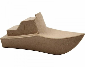 3D Small Speedboat made from recycled brown papier mache, papier mache , 3d kids crafts, decopatch, decoupage, party bags