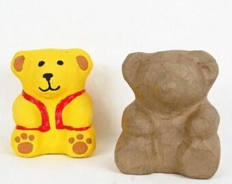 Teddy Bank made from recycled brown papier mache. Piggy Bank, 3D Papier Mache,  Kids craft, decoupage craft, decopatch
