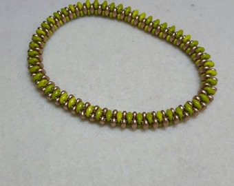 Olive and Gold beaded bangle