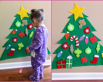 Toddler Christmas Tree - FREE SHIPPING - Toddler Toy - Toddler Gift - Holiday Gift - Felt Craft - Great Gift for Preschool Age