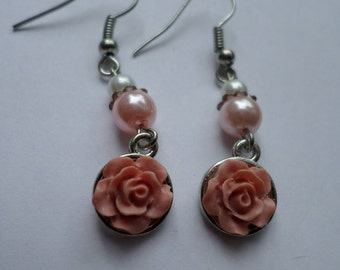 Pink Floral Pearl Drop Earrings