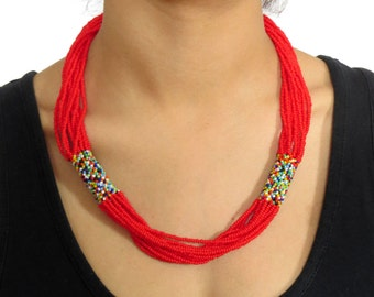 African Zulu beaded short necklace – Confetti Collection