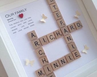 Family frame, scrabble frame, scrabble wall art, personalised gift, scrabble tiles, birthday gift, handmade gift, home decor
