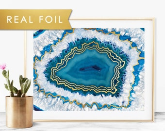Blue Crystal Agate Wall Art Print with Real Gold Foil 11x14, 8x10, 5x7