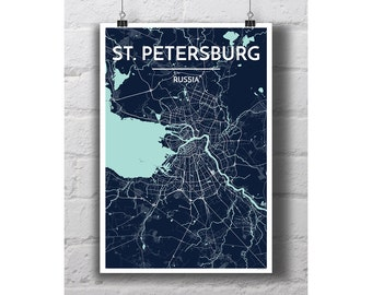 St Petersburg, Russia - City Map Print