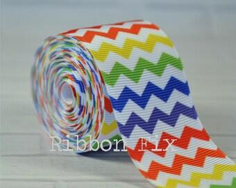 "2 yards 1.5"" Rainbow Chevron Stripe Grosgrain Ribbon - Primary Colors - Craft - Sewing - Pride - ROYGBIV - Home Decor - Dog Collar/Leash"