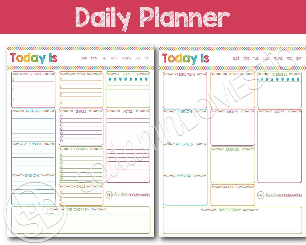 Daily printable planner to do list with menu plan meal for How to make a good planner