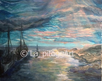 Evening of the day after tomorrow - landscape painting, original acrylic painting, impressionism
