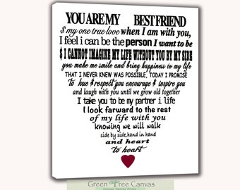 Custom Lyrics Canvas, Song lyrics canvas, Vows on canvas, Words in heart shape, Canvas wrap, Words on canvas,love story text,Custom names