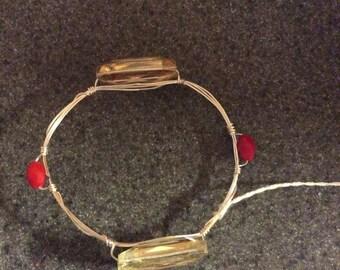 Red and crystal bangle bracelet