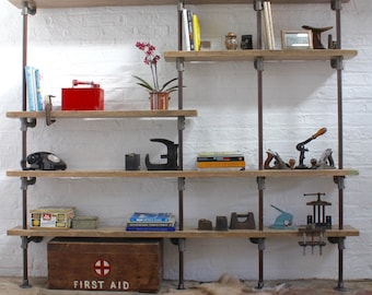Nathan Reclaimed Scaffolding Boards and Distressed Steel Pipe Wall Mounted and Floor Standing Industrial Shelves / Bookcase