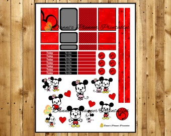 Cute Mickey and Minnie Printable Planner Kit