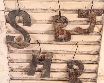 Block Letter Ornament, Tin