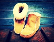 Authentic, Native Canadian, Hand Made, Sheepskin, Roll Down Slippers
