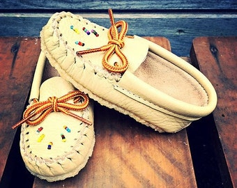 Hand Beaded, Crepe Sole, Authentic Native Made Moccasins
