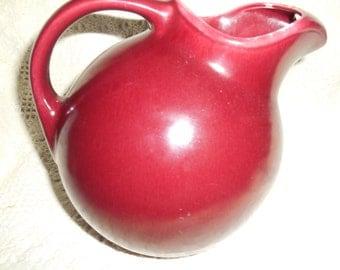 Vintage Homer Laughlin HARLEQUIN FIESTA Ball Jug Pitcher Maroon Burgundy Large ~ No Dimple when top handle joins pitcher