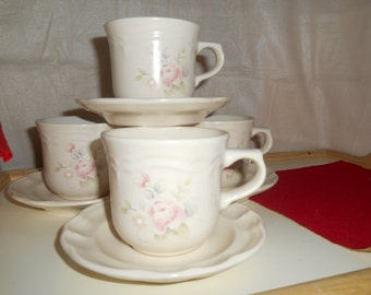 Set of 4~ PFALTZGRAFF Tea Rose Tea Cups / Coffee Cups / Coffee Mugs with Saucers Made In USA