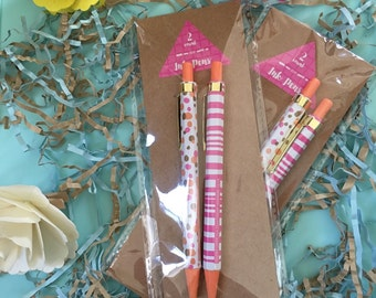 Polka Dot and Stripe pen set