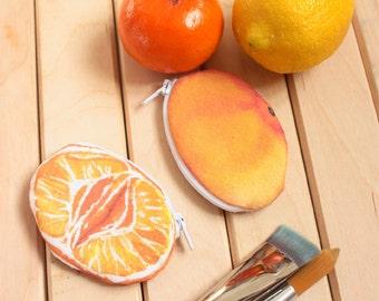 TANGERINE, MANDARIN :  Tangerine purse, fruit tropical case, funny case fruit, gift idea, mandarin orange