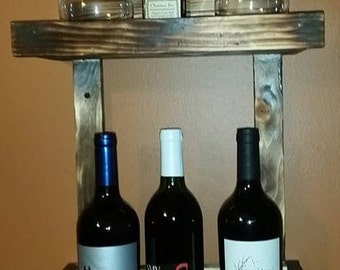 Wall wine rack,  2-3 bottles and 2-4 glasses.
