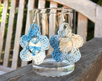 Crochet Flower Earrings, Button Flowers, Blue, White, Re-purposed, Upcycled Buttons, Folk, Fiber Arts, Crocheted, Something Blue, Floral