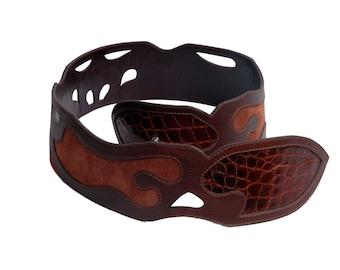 Roberta belt crocodile and leather