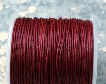100m Dark Red Waxed Cotton Cord Cinnamon (1mm) S 40 045