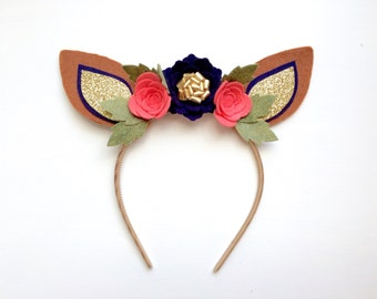 Felt Deer Fawn Ear headband - navy, coral flowers with glitter gold and green leaves