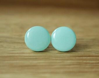 Mint Stud Earrings. MINT SHIMMER STUDS. green stud earrings. green earrings. Stainless Steel Post.
