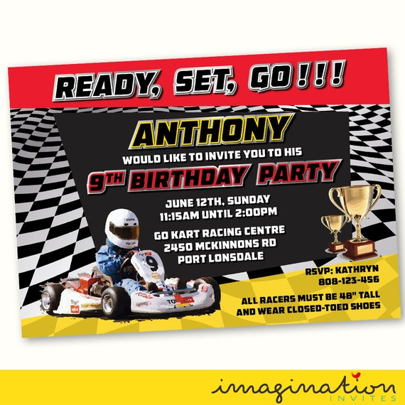 Go Kart Racing Invitation Birthday Party By ImaginationInvites