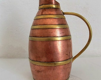 Small French Vintage Copper & Brass Cider or Water Jug, Rustic and Decorative Copper and Brass Pitcher. Farmhouse.  Cottage Chic. Rustic.