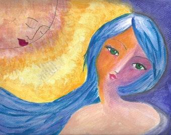 Sun Girl, Mixed Media Original - 9x12 Mixed Media Original 140lbs watercolor paper