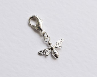 Sterling silver Bee Charm with lobster clasp/bolt for bracelets/necklaces - charm bracelet - cute bumblee bee, nature, flying, wings