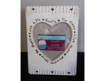 Heart Family Sayings Photo Frame Wood-Burned