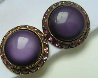 LARGE Button Earrings - Clip - Purple Jewelry