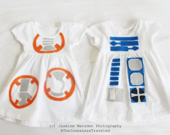BB8 and R2D2 costume dress for twin/siblings babies and toddlers