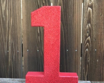 Number 1 Photo Prop, First Birthday, 1st Birthday, Photo Prop, Glitter #1, Red One, Cake Smash, Table Centerpiece, Number One, 8 inches, 1st