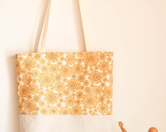 Tote bag reversible cotton with yellow flowers