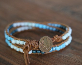 Wrapbracelet. Quality leather, beads and button. Chan Luu style.