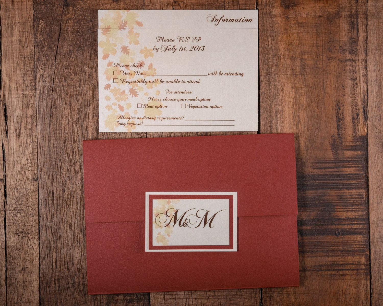 Fall Leaves Invitations, Fall Leaves Wedding Invitations, Fall ...
