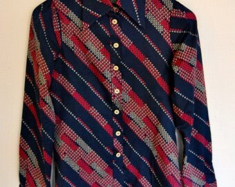 70's Diagonal Striped Dubble Cuffed Shirt