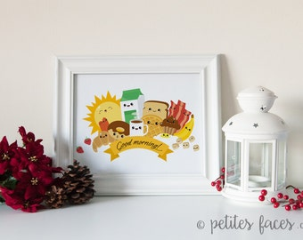 Cute Breakfast print for kitchen decor