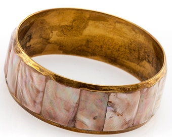 Mother Of Pearl Brass Bangle