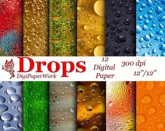 Droplets on glass Digital Paper Instant download drops on the window drops on Raindrops on the leaf for Personal and Commercial use