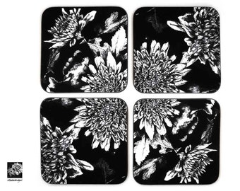 Set of 4 Flower illustrated Coasters