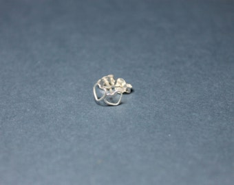 Tiny Sterling Silver Heart Shaped Wire Ear Studs