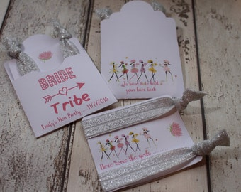 Hen party favours pocket & insert-Personalised To have and to hold your hair back soft elastic hair ties