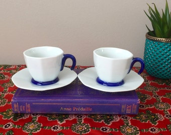 Vintage Espresso Cup Set / Small Octagon White & Blue Coffee Cups with Saucers / Set of 2