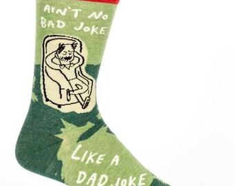 Father's Day Gifts / Men's Crew Socks - Ain't No Bad Joke Like a Dad Joke -  Funny Socks, Quirky, Novelty Socks, Gift
